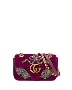 083b96a0781583 Velvet GG Marmont 2.0 Mini Shoulder Bag, Fuchsia by Gucci at Bergdorf  Goodman. Red