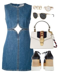 """""""Untitled #3594"""" by theaverageauburn on Polyvore featuring Courrèges, STELLA McCARTNEY, Gucci and Yves Saint Laurent"""