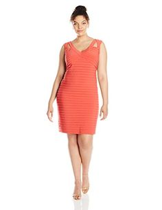 Adrianna Papell Womens PlusSize Sleeveless V Neck Banded Dress Flame 18W * Be sure to check out this awesome product.