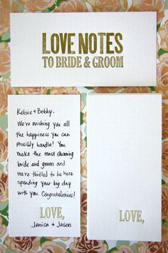 """Love Notes for the Bride and Groom - Gold """"Love,"""" - Letterpress Wedding Guest Book Alternative classy elegant guest cards"""