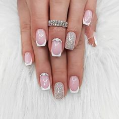 Classy Nails, Stylish Nails, Trendy Nails, Cute Nails, Bride Nails Wedding, Bridal Nails, Square Nail Designs, Nail Art Designs, Pink Nails