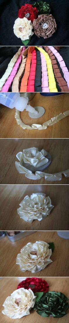 DIY Simple Flower of Pleated satin ribbons, can also use a gathering stich on satin ribbon to make ruffles