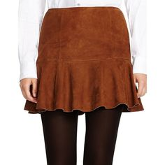 Polo Ralph Lauren Suede Fit-and-Flare Skirt ($598) ❤ liked on Polyvore featuring skirts, brown, suede skirt, brown skirt, polo ralph lauren and brown suede skirt