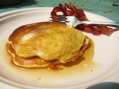 Sweet Corn Pancakes...Drizzle with honey and maple syrup and enjoy a fresh, delicious breakfast!