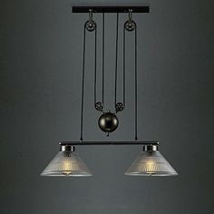 susuo lighting industrial vintage 2light lamp chandelier adjustble wrought iron clear ribbed glass linear pendant lighting