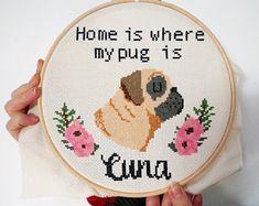 Where the Dog Is Tan Black Pug Cross Stitch Pattern   Etsy Cross Stitch Kits, Cross Stitch Patterns, Corgi Cross, Pug Names, Dog Tags Pet, Fawn Pug, Black Pug, Dog Mom Gifts, Keepsake Boxes