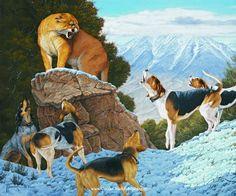 """Stand Off"" -mansanarez Wildlife Art by Tom Mansanarez, limited edition prints featuring elk, deer, antelope, moose, cats, cougar, mountain lion, hounds, horses, and bobcats. - Limited Edition Prints"