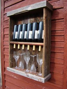 This rustic wine cabinet. Upcycled ~ Recycled Pallet Wood into Wine & Glass Shelf Holder Dispense. Barn Wood Projects, Pallet Projects, Home Projects, Woodworking Projects, Pallet Crafts, Wood Crafts, Do It Yourself Baby, Wine Cabinets, In Vino Veritas