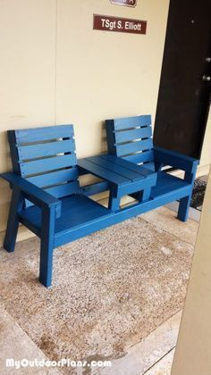 DIY Outdoor Bench with Table | MyOutdoorPlans | Free Woodworking Plans and Projects, DIY Shed, Wooden Playhouse, Pergola, Bbq #outdoorplayhousediy #outdoorplayhouseplans #pergolaplans
