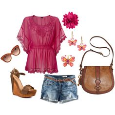 Fushia Butterfly Blouse & Accesories, created by raedawn-rd