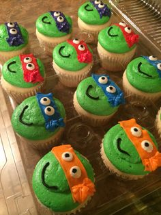 Teenage Mutant Ninja Turtle Cupcakes for a 4-year-old's birthday
