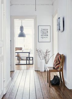 Beautiful bright hallway with a wood strip flooring, white walls and some nice interior decor. We love to sneak a peek into the dining room. Interior Design Inspiration, Home Interior Design, Room Inspiration, Interior And Exterior, Interior Decorating, Interior Livingroom, Design Interiors, Design Ideas, Decoration Hall