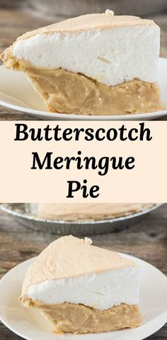 Butterscotch Meringue Pie Recipe - creamy and rich butterscotch pie with a fluffy and high baked meringue. Tastes just like old fashioned butterscotch pie served by diners and grandmas. Baked Meringue, Butterscotch Pie, Easy Smoothie Recipes, Snack Recipes, Dessert Recipes, Köstliche Desserts, Delicious Desserts, Bean Cakes, Deserts