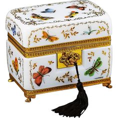 Beautiful French Bulle de Savone opaline crystal jewelry casket, hand painted throughout with colorful butterflies and gilt floral accents.