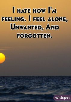 I hate how I'm feeling. I feel alone, Unwanted, And forgotten ...
