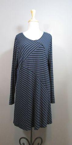 COMFY USA Womens Black & Blue Striped Long Sleeve Scoop Neck Tunic Dress sz L #ComfyUSA #Shift #Casual