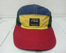 Sale Rare Vintage Fila Biella Italia Golf Colour Block 4 colour Pacthwork Casual Hip Hop Mesh Hat Cap