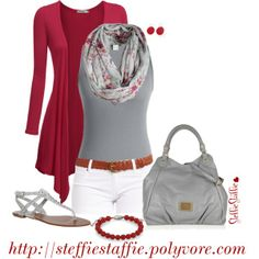 Red & Gray, created by steffiestaffie on Polyvore