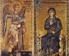 Ο Ευαγγελισμός της Θεοτόκου. Ψηφιδωτό από τη Λιτή του Καθολικού της Ι.Μ. Βατοπαιδίου, 14ος αι.