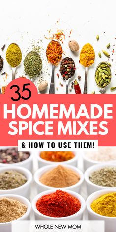 35 Homemade Spice Mixes & How to Use Them! 35 Homemade Seasoning Mixes and how to use them to add great flavor to your food! Plus save money and make healthier spices with these DIY Homemade spice mixes and blends! Homemade Spice Blends, Homemade Spices, Spice Mixes, Homemade Food, Diy Food, Homemade Dry Mixes, Homemade Dinners, Homemade Seasoning Salt, Seasoning Mixes