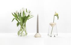 'Lys' vase & candleholder by Mizko Design Schönenwerd, Switzerland-based Mizko Design's 'Lys' is a classic, stylish glass vase and more - it's also a Swiss Design, My Design, Container Flowers, Bud Vases, Minimal Design, Design Firms, Design Awards, Design Inspiration, Daily Inspiration