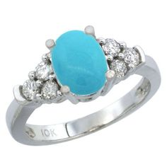 My dream ring!  14K White Gold Natural Turquoise Ring Oval 9x7 Stone Diamond Accent, size 6 (no blood diamonds )