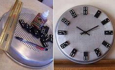 How to make cool DIY domino clock step by step tutorial instructions How to make cool DIY domino clock step by step tutorial instructions by Mary Smith fSesz Man Vs Pin, Diy Clock, Bath And Beyond Coupon, How To Make Diy, Cool Diy, Diy Wall, Wall Art, Feng Shui, Metal Working