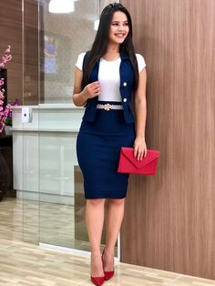 Simple Summer to Spring Outfits to Try in 2019 – Prettyinso Classy Work Outfits, Classy Dress, Chic Outfits, Business Casual Outfits, Fashion Outfits, Work Dresses For Women, Clothes For Women, African Fashion Dresses, Stylish Dresses