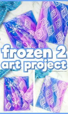 This snowflake art project for kids is a fun painting idea for kids in preschool, kindergarten and elementary. Its perfect for Disneys Frozen 2 fans and a great winter craft for children. Disney Frozen Crafts, Disney Crafts For Kids, Winter Crafts For Kids, Frozen Activities, Activities For Kids, Disney Activities, Winter Art Projects, Projects For Kids, Toddler Art