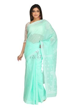 Ada Hand Embroidered Sea Green Cotton Lucknow Chikan Saree With Blouse - A220440 Price Rs.2,290.00 #Ada_Chikan #cotton chikankari saree #lakhnavi cotton saree #lucknowi ladies saree #lakhnavi work sarees online shopping #lucknowi material #chikankari #lucknowi saree wholesale online #chikan work saree #chicken saree for women #chikankari fabric suppliers #chikankari embroidery saree #chikankari saree price #chikan saree designs #for women