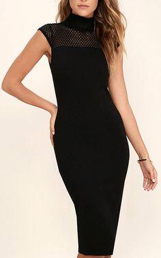 Detail Therapy Black Bodycon Midi Dress via @bestchicfashion