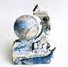 Globo 3D con movimiento hecho a mano. Cartonaje creativo de scrapbooking. Globe, Diy, Card Tutorials, Greeting Cards, Cartonnage, Hand Made, Creativity, Xmas, Speech Balloon