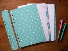A5 A-Z Monthly DIVIDERS & Dashboard Set 'Light Teal & Turquoise' - Fits FILOFAX #HandmadebyMei