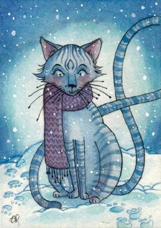 Snowy Cat by Annie Rodrigue