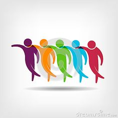 Teamwork.Group of friends holding each other logo image