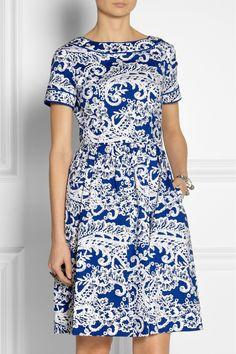 Oscar de la Renta|Printed stretch-cotton dress|NET-A-PORTER.COM
