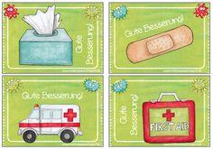 Krankenmappe für verpasste Hausaufgabe, Arbeitsblätter und sonstige Informationen für kranke Kinder in der Grundschule und Gute-Besserung-Kärtchen