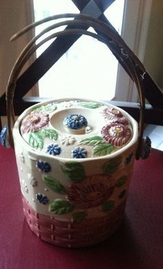 """This piece looks """"Very Mary"""" to me - Vintage Hand Pointed Biscuit Jar with Bamboo Handle Made Japan 