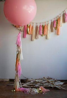 Items similar to Dakota Balloon with Fringe, Geronimo Balloon, Giant Balloon with Tassels, Balloon with Tassel Garland, Pink Balloon with Tassels on Etsy Balloon Arch Diy, Balloon Tassel, Tassel Garland, The Balloon, Tassels, 1st Birthday Party For Girls, Office Birthday, Baby Birthday, Birthday Ideas