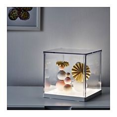 IKEA - SYNAS, LED light box, , Your child can showcase their art creations, collections or favorite belongings and change them when they like thanks to the removable lid.The illuminated base creates a warm and cozy atmosphere in the room. At Home Furniture Store, Modern Home Furniture, Affordable Furniture, Interior Wood Stain, Kids Bedroom Accessories, Ikea Lighting, Ikea Boxes, Interior Led Lights, Product Design