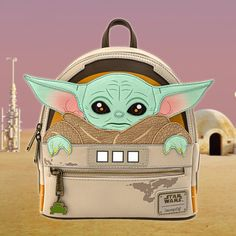 """This beautful Baby Yoda Loungefly mini backpack is guaranteed to melt the heart of even the toughest Mandalorian. Official Star Wars: The Mandalorian merchandise Super cute mini-backpack featuring The Child, or as many fans affectionately call him """"Baby Y Cute Mini Backpacks, Kids Backpacks, Awesome Backpacks, Disney Purse, Disney Handbags, Adventures By Disney, Disney Outfits, Disney Clothes, Girl Outfits"""