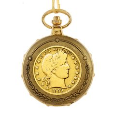 American Coin Treasures Men's 13233 Goldplated Barber Half Dollar Train Pocket Watch - Overstock™ Shopping - Big Discounts on American Coin Treasures More Brands Men's Watches