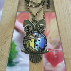 Sun & Moon Art  Antique Bronze Glass Pendant Necklace by AfifShop