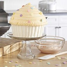 lots of ideas for decorating the giant cupcake (wiltons baking tin)