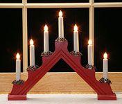 Window Candles (Scandinavian)  Red. 7 candles.