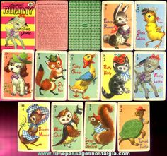 I had Animal Rummy cards that looked like this in the early 50s - did you learn to play 'big' person's Rummy first by matching animal cards when you were little?