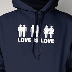 Love Is Love Screen Printed Hoodie Hooded Sweatshirt Mens Womens Ladies Youth Kids Marriage Family LGBT Gay Straight Lesbian Bi Trans