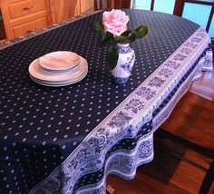 Superb Blue And White French Provincial Oilcloth