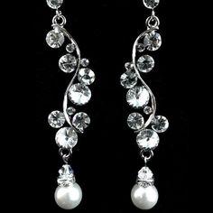 Swarovski Flower Petals Wedding Earrings, Crystal Pearl Bridal Jewelry - $42.00