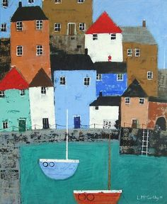 UK based website for West Country Art Building Painting, Boat Painting, Acrylic Painting Canvas, Seaside Art, Coastal Art, Art Beat, Paintings I Love, Naive Art, Landscape Art